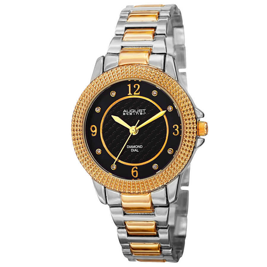 August Steiner Women's Japanese Quartz Diamond Markers MOP Dial Bracelet Watch AS8154TTG