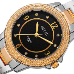August Steiner Women's Japanese Quartz Diamond Markers MOP Dial Bracelet Watch AS8154TTG - Thumbnail