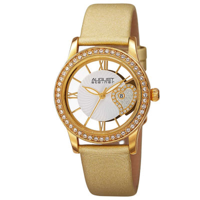 August Steiner - August Steiner Women's Japanese Quartz Heart Design Satin Strap Watch AS8176YG