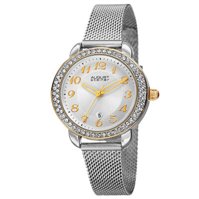 August Steiner - August Steiner Women's Japanese Quartz Swarovski Crystals Stainless Steel Bracelet Watch AS8192SSG