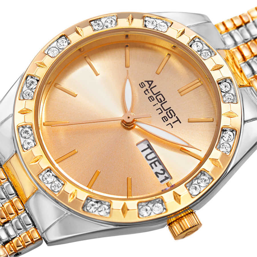 August Steiner Women's Japanese Quartz Swarovski Crystals Sunray Dial Bracelet Watch AS8177TTG