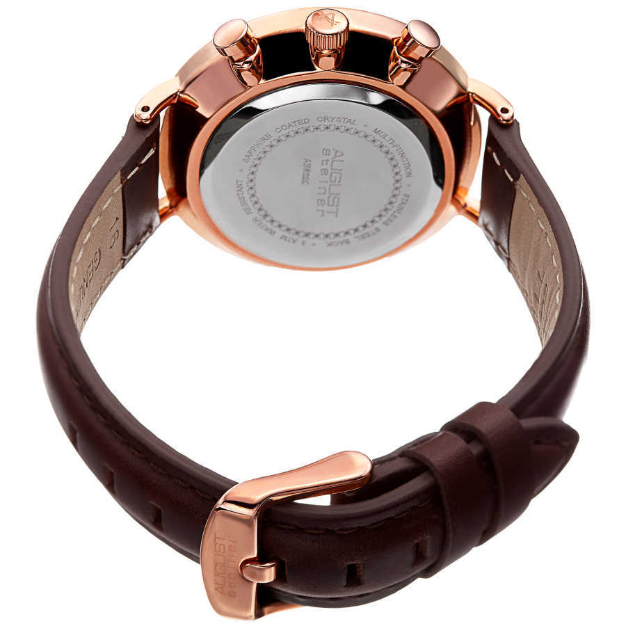 August Steiner Women's Multifunction Genuine Leather Strap Watch AS8220BRRG