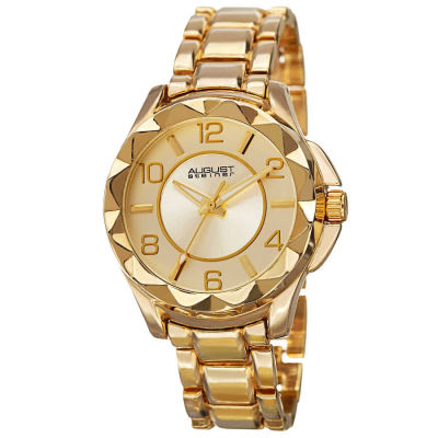 August Steiner - August Steiner Women's Pyramid Pattern Bezel Japanese Quartz Bracelet Watch AS8159YG