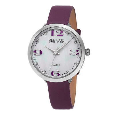 August Steiner - August Steiner Women's Quartz Mother of Pearl Diamond Leather Strap Watch AS8165PU