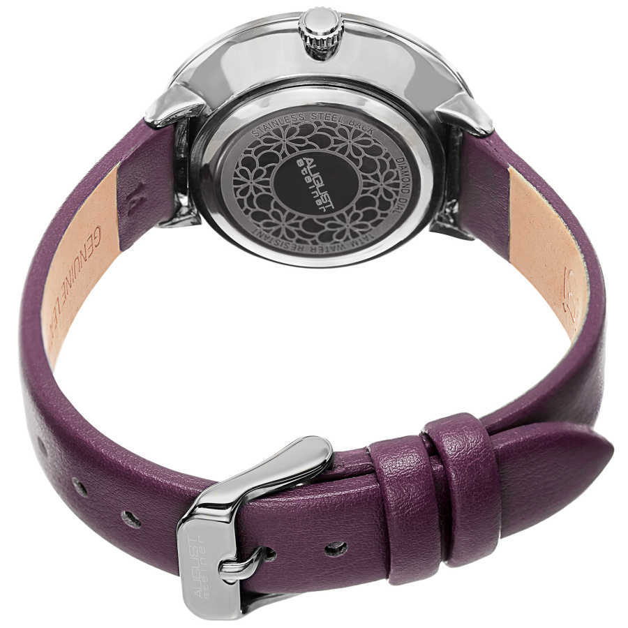 August Steiner Women's Quartz Mother of Pearl Diamond Leather Strap Watch AS8165PU