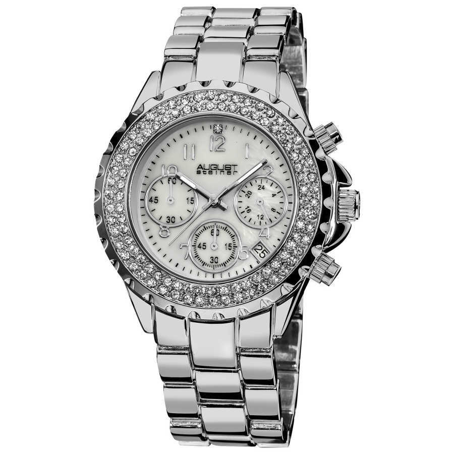 August Steiner Women's Silver-Tone Crystal MOP Chronograph Bracelet Watch AS8031SS