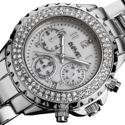 August Steiner Women's Silver-Tone Crystal MOP Chronograph Bracelet Watch AS8031SS - Thumbnail