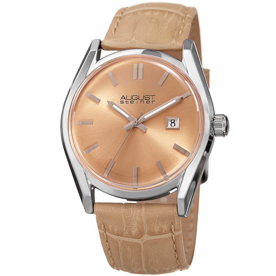 August Steiner Women's Sunray Dial Date Croco Leather Strap Watch AS8221BG