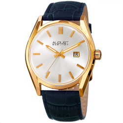 August Steiner Women's Sunray Dial Date Croco Leather Strap Watch AS8221BU - Thumbnail