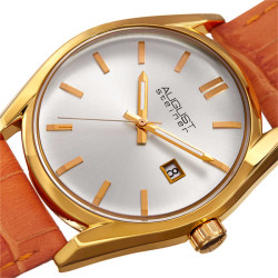 August Steiner Women's Sunray Dial Date Croco Leather Strap Watch AS8221OR - Thumbnail