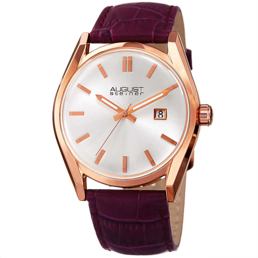 August Steiner Women's Sunray Dial Date Croco Leather Strap Watch AS8221PU