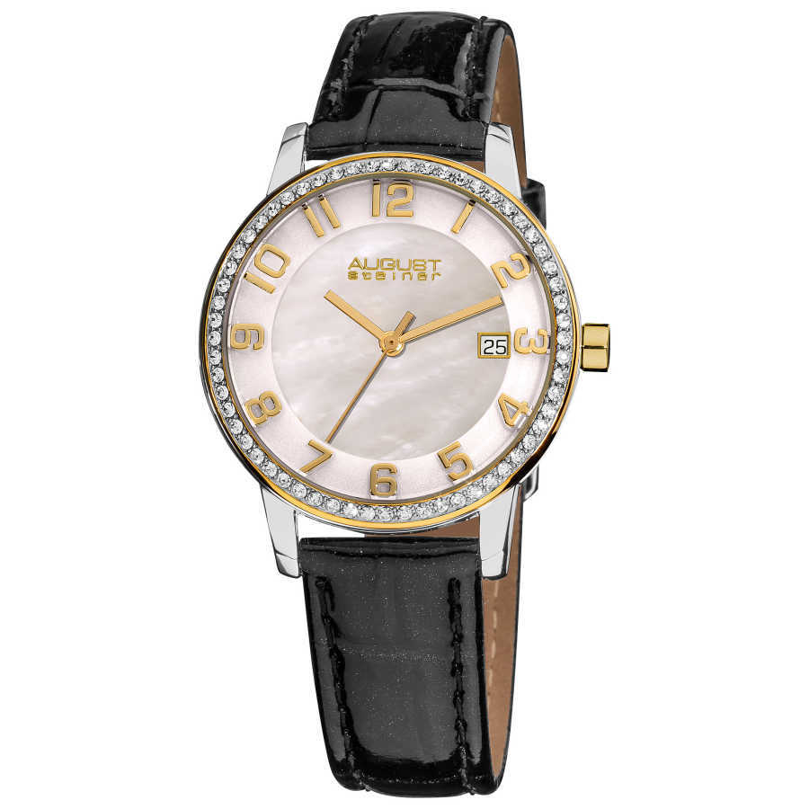 August Steiner Women's Swiss Quartz Mother of Pearl Crystal Strap Watch with Gold-Tone Hands AS8056YG