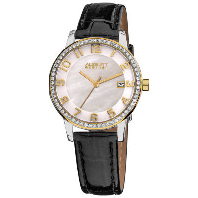 August Steiner - August Steiner Women's Swiss Quartz Mother of Pearl Crystal Strap Watch with Gold-Tone Hands AS8056YG