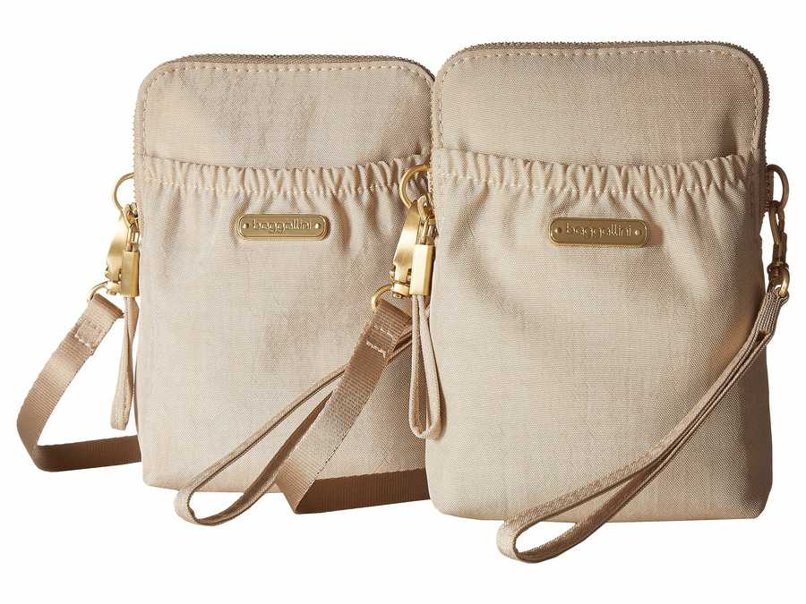 Baggallini Champagne Shimmer 2 Bryant Pouch Bundle Cross Body Bag