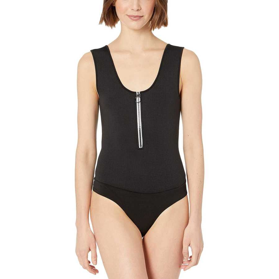 Bcbgeneration Black Zip Front Bodysuit - Tzt1193702