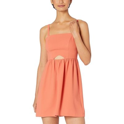 BCB Generation - Bcbgeneration Canyon Clay Cocktail Front Cut Out Flutter Woven Dress
