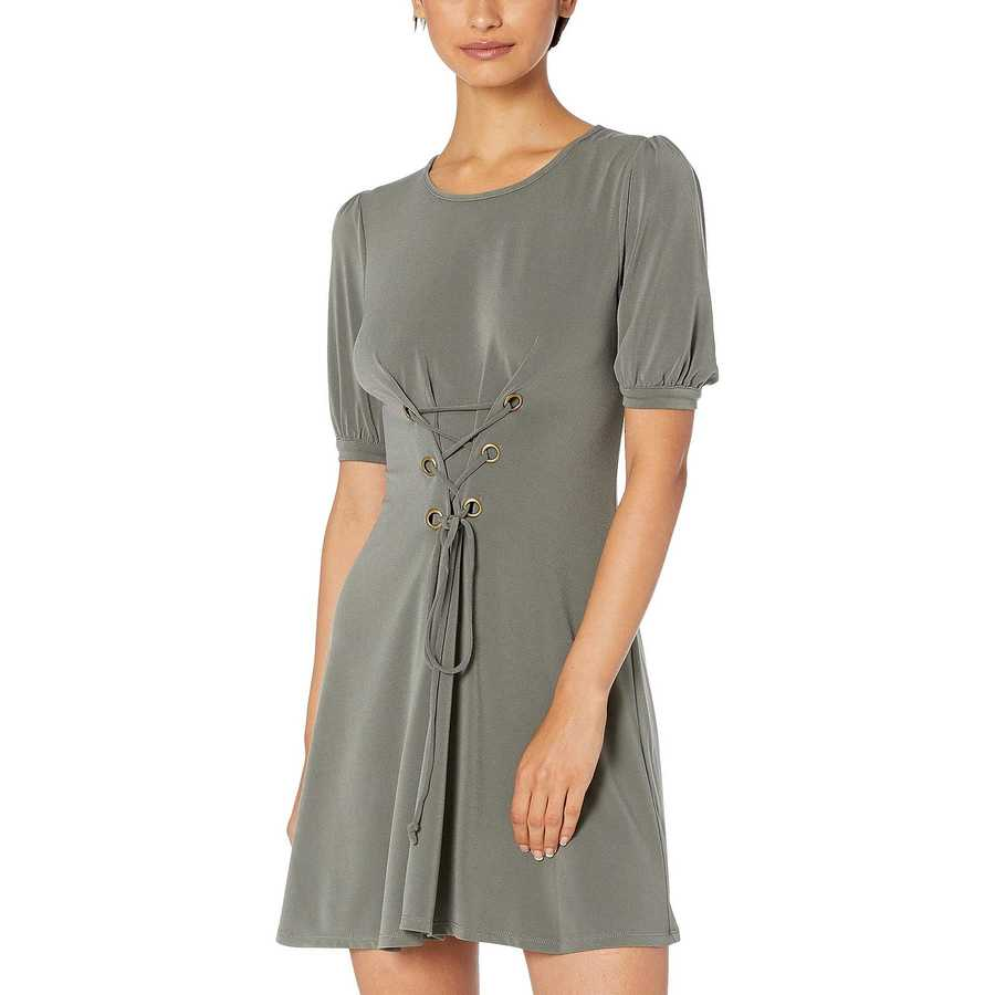 Bcbgeneration Dark Moss Day Bubble Sleeve Front Lace-Up Knit Dress