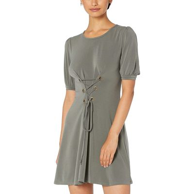 BCB Generation - Bcbgeneration Dark Moss Day Bubble Sleeve Front Lace-Up Knit Dress