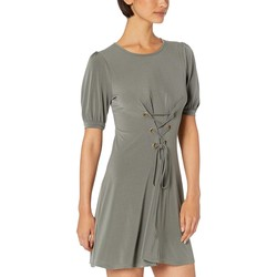 Bcbgeneration Dark Moss Day Bubble Sleeve Front Lace-Up Knit Dress - Thumbnail