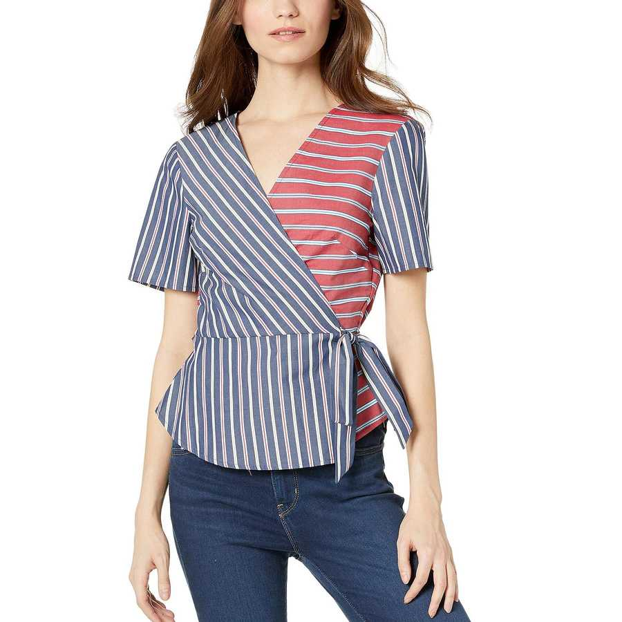 Bcbgeneration Dark Navy Wrap Front Short Sleeve Woven Top