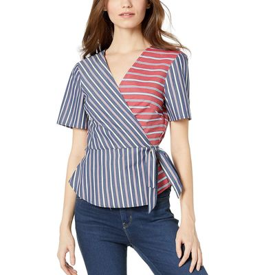 BCB Generation - Bcbgeneration Dark Navy Wrap Front Short Sleeve Woven Top