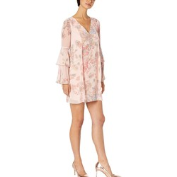 Bcbgeneration Light Pink Cocktail Bow Back Tiered Sleeve Woven Dress - Thumbnail