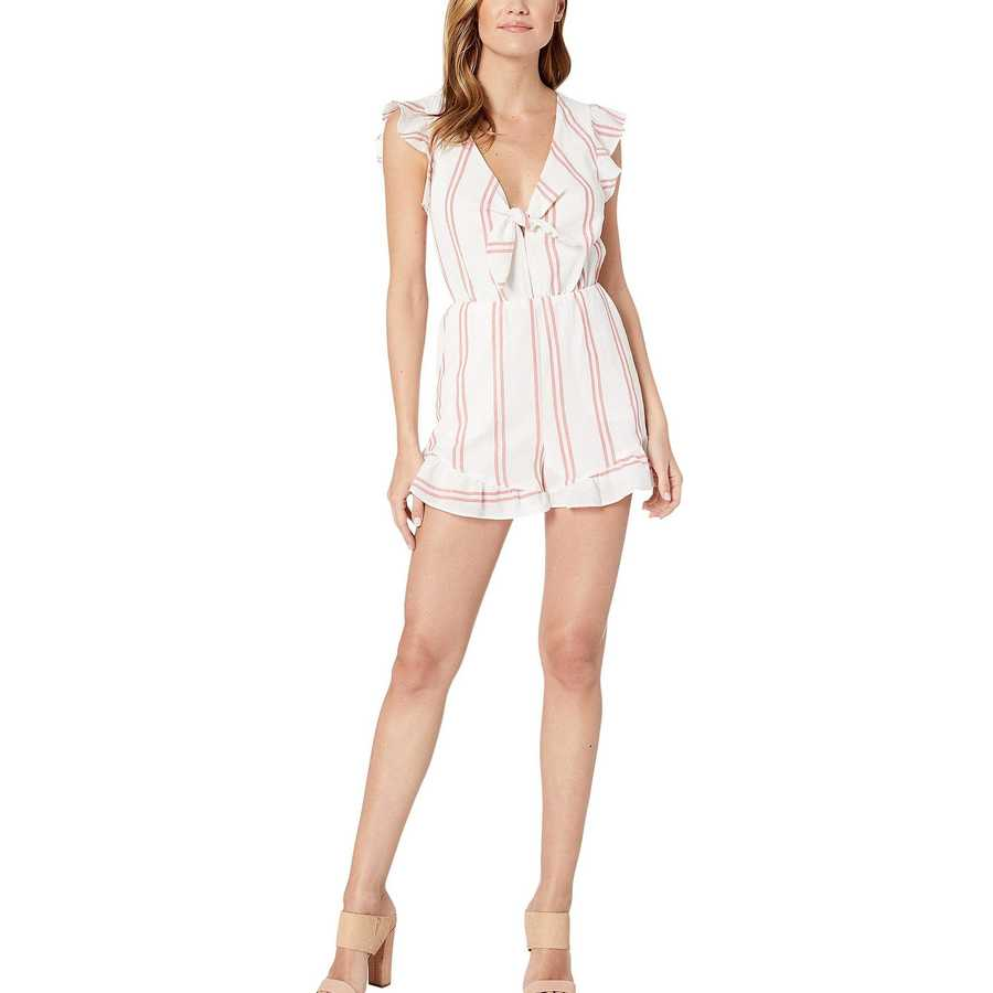 Bcbgeneration Optic White Knot Front Ruffle Sleeve Romper