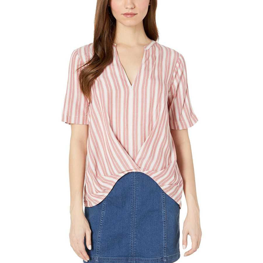 Bcbgeneration Red Pleat Front Short Sleeve Woven Top