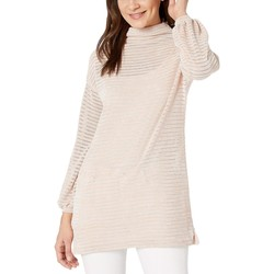 Bcbgeneration Rose Smoke Funnel Neck Tunic Long Sleeve Knit Top - Thumbnail