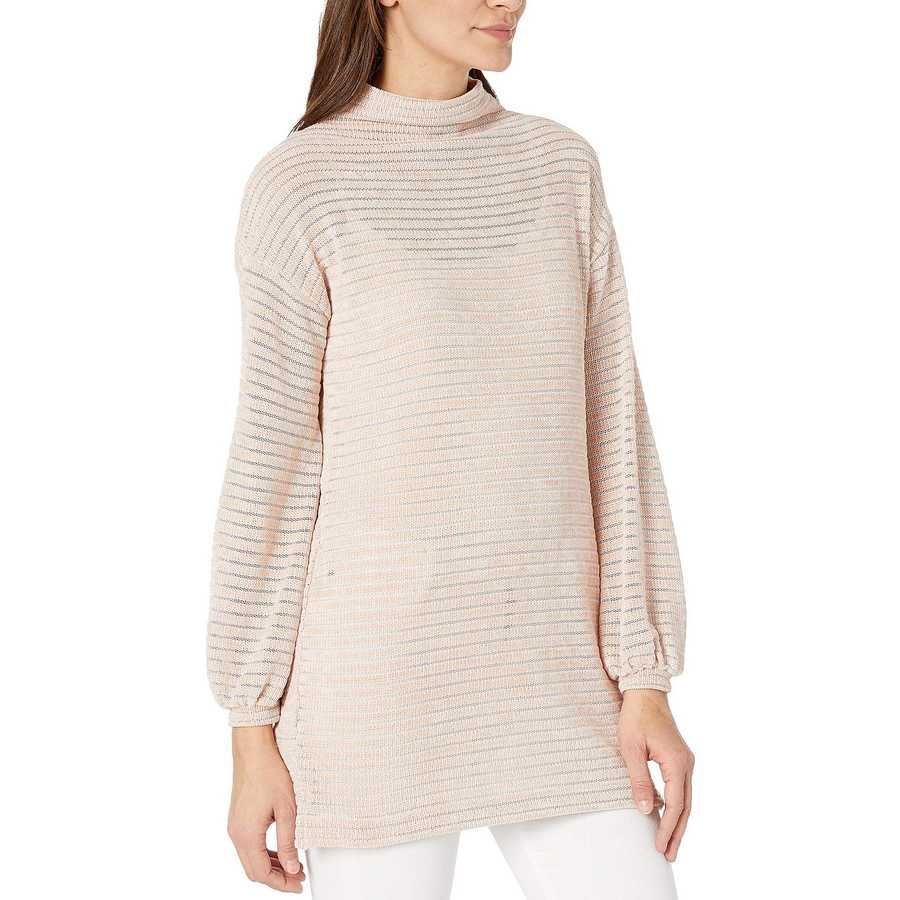 Bcbgeneration Rose Smoke Funnel Neck Tunic Long Sleeve Knit Top
