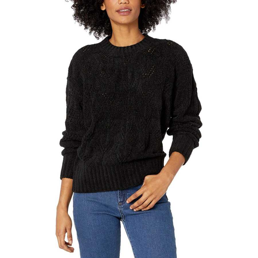 Bcbgmaxazrıa Black Crew Neck Long Sleeve Pullover Sweater