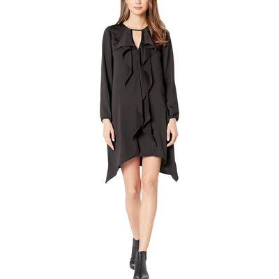 BCBG Max Azria - Bcbgmaxazrıa Black Ruffle Front Long Sleeve Woven Dress