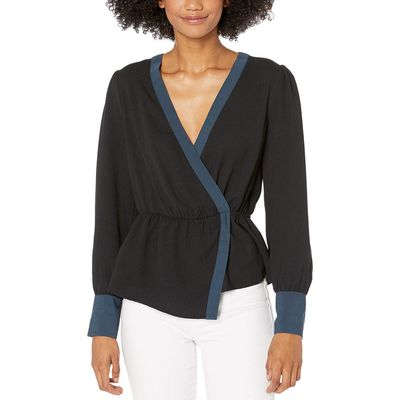 BCBG Max Azria - Bcbgmaxazrıa Black Surplice Long Sleeve Woven Top