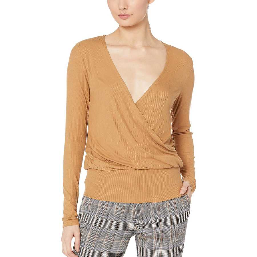 Bcbgmaxazrıa Camel Long Sleeve V-Neck Knit Top