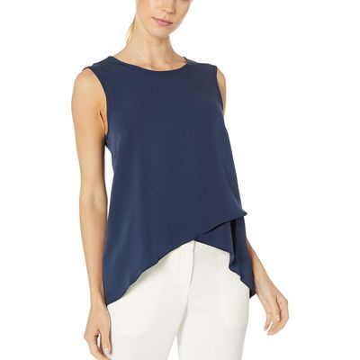 BCBG Max Azria - Bcbgmaxazrıa Dark Navy Sleeveless Woven Shell Top