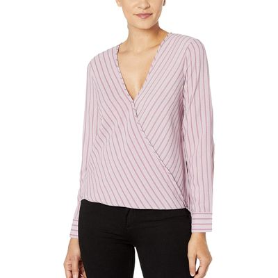 BCBG Max Azria - Bcbgmaxazrıa Dawn Pink Wrap Hem Long Sleeve Woven Top