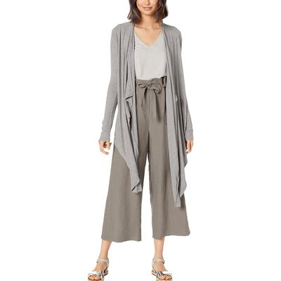 BCBG Max Azria - Bcbgmaxazrıa Heather Grey Knit Drape Front Cardigan