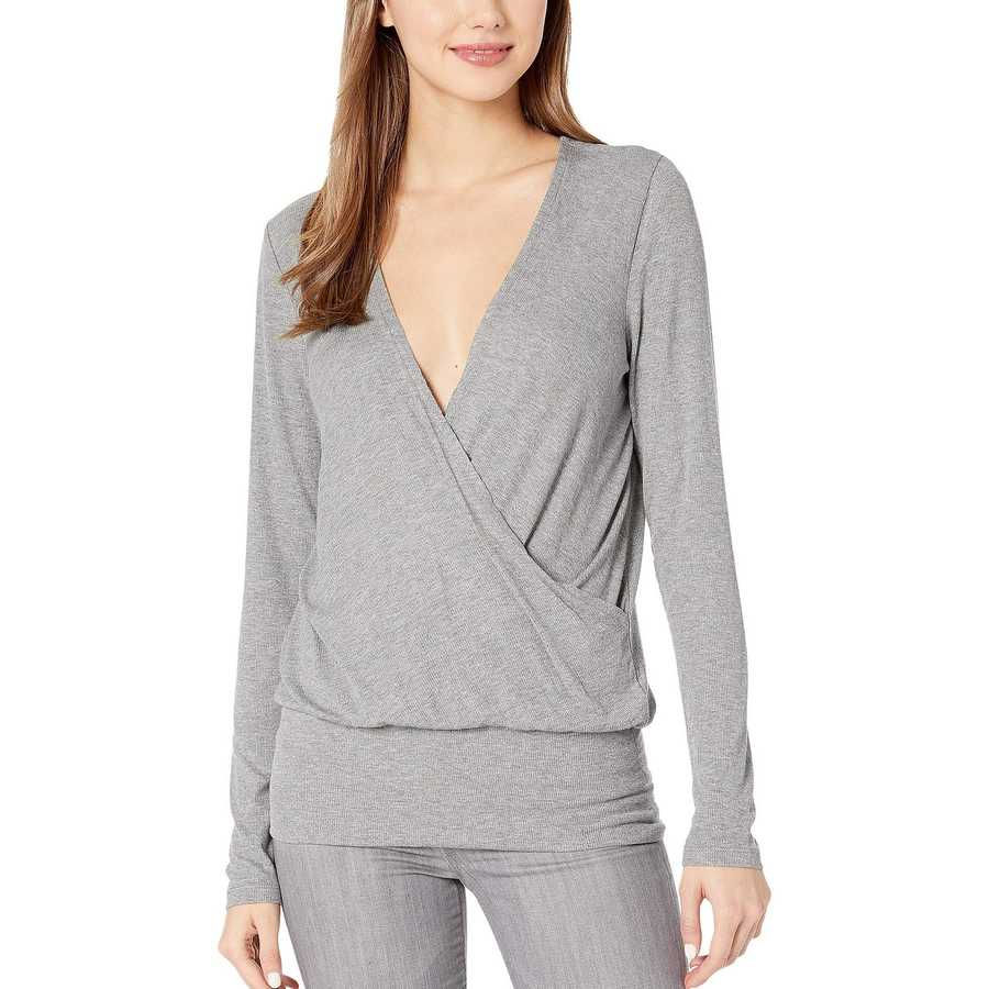 Bcbgmaxazrıa Heather Grey Long Sleeve V-Neck Knit Top