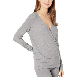 Bcbgmaxazrıa Heather Grey Long Sleeve V-Neck Knit Top - Thumbnail