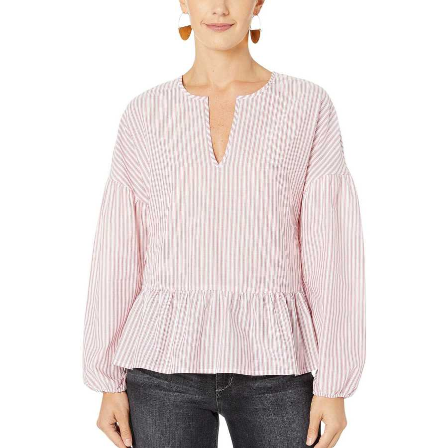 Bcbgmaxazrıa Sangria Combo Long Sleeve Peasant Woven Top