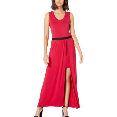 BCBG Max Azria - Bcbgmaxazrıa Sangria Twofer Knit Maxi Dress