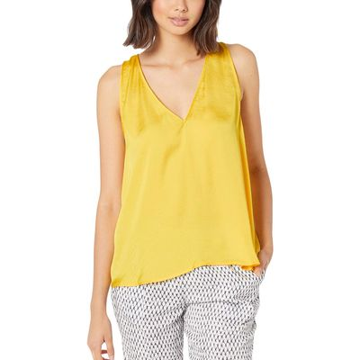 Bcbgmaxazrıa Yellow A-Line Sleeveless Woven Top