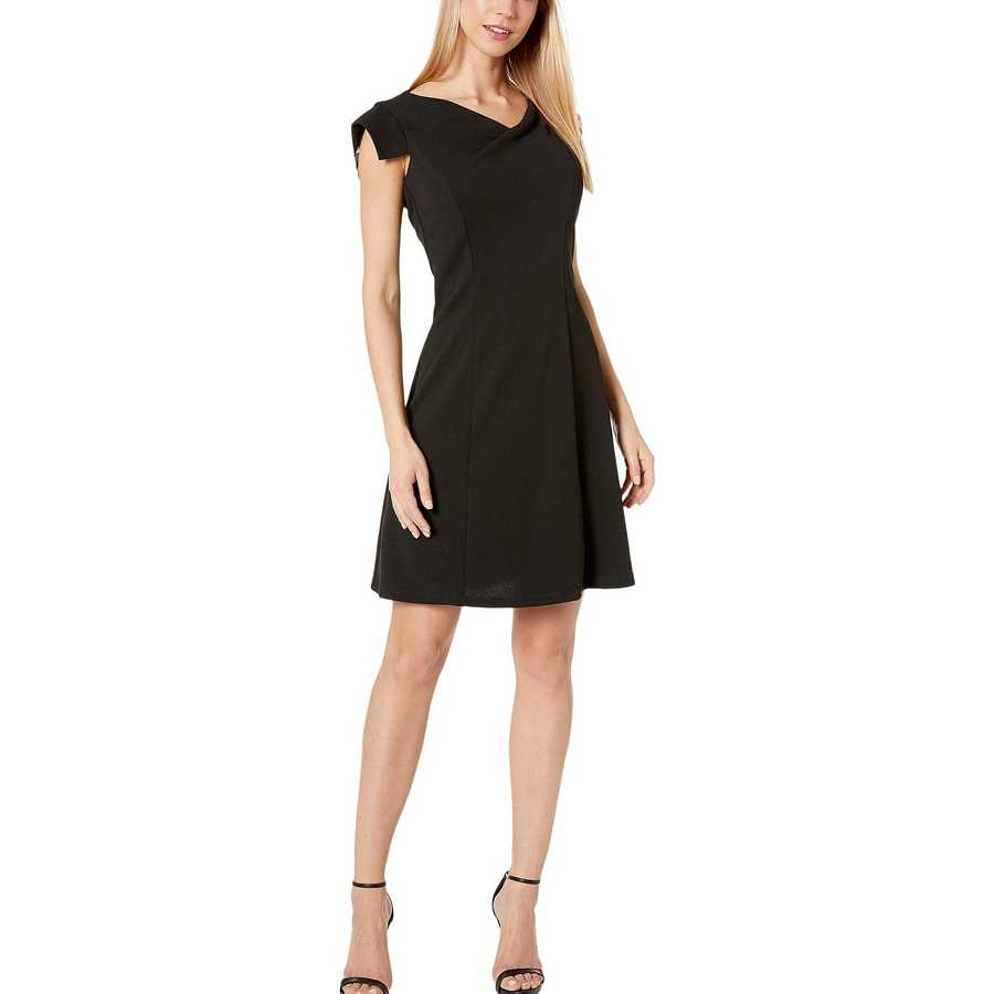 Bebe Black Asymmetrical Cowl Neck Cap Sleeve Dress