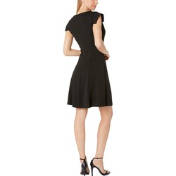 Bebe Black Asymmetrical Cowl Neck Cap Sleeve Dress - Thumbnail