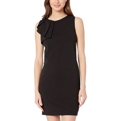 Bebe - Bebe Black Asymmetrical Ruffle Shift Dress