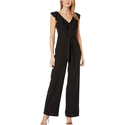 Bebe - Bebe Black Glitter Scuba Crepe Jumpsuit With Ruffle Detail