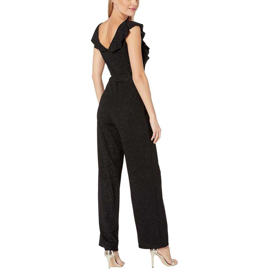 Bebe Black Glitter Scuba Crepe Jumpsuit With Ruffle Detail