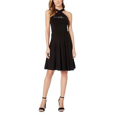 Bebe - Bebe Black Halter Fit And Flare Dress