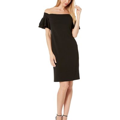 Bebe - Bebe Black Off Shoulder Ruffle Sleeve Bodycon Dress