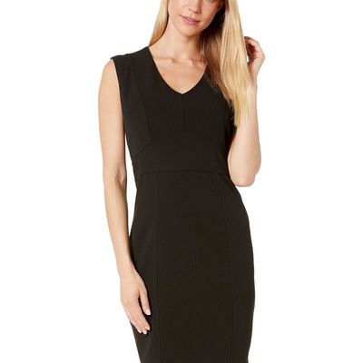 Bebe - Bebe Black Plunge Neck Seamed Dress